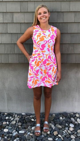 Boardwalk Dress - Seahorse Dance Pink/Orange - Final Sale