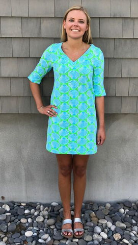 Catalina Dress - Scallop Shell Blue/Lime