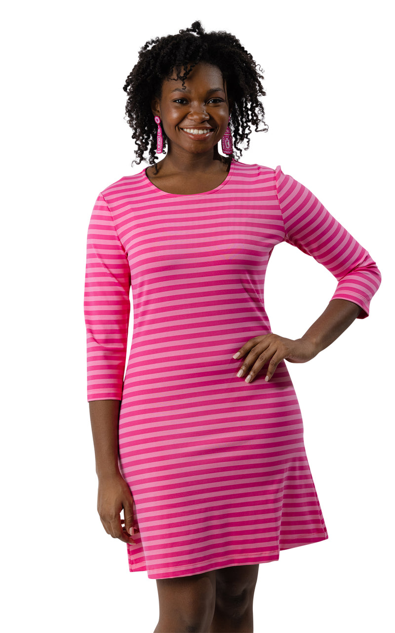 Grace Dress - Pink/Pink Stripe