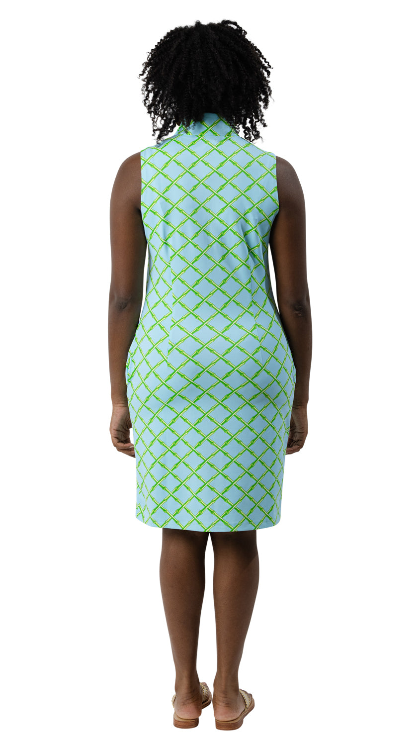 Britt Dress Sleeveless - Turq/Green Bamboo Lattice