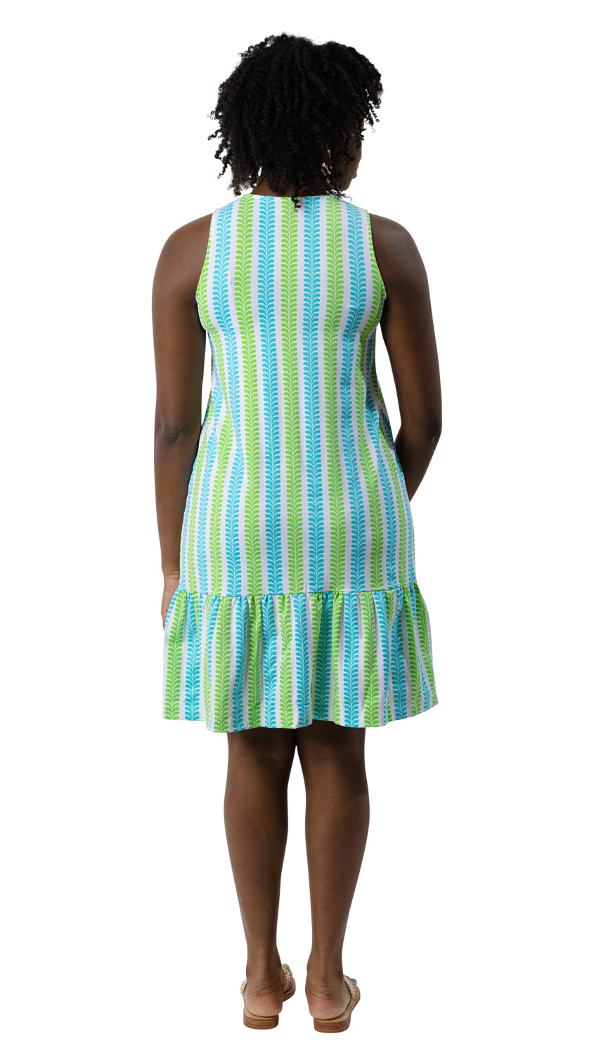 Ellie Dress - Vertical Vines Blue/Green