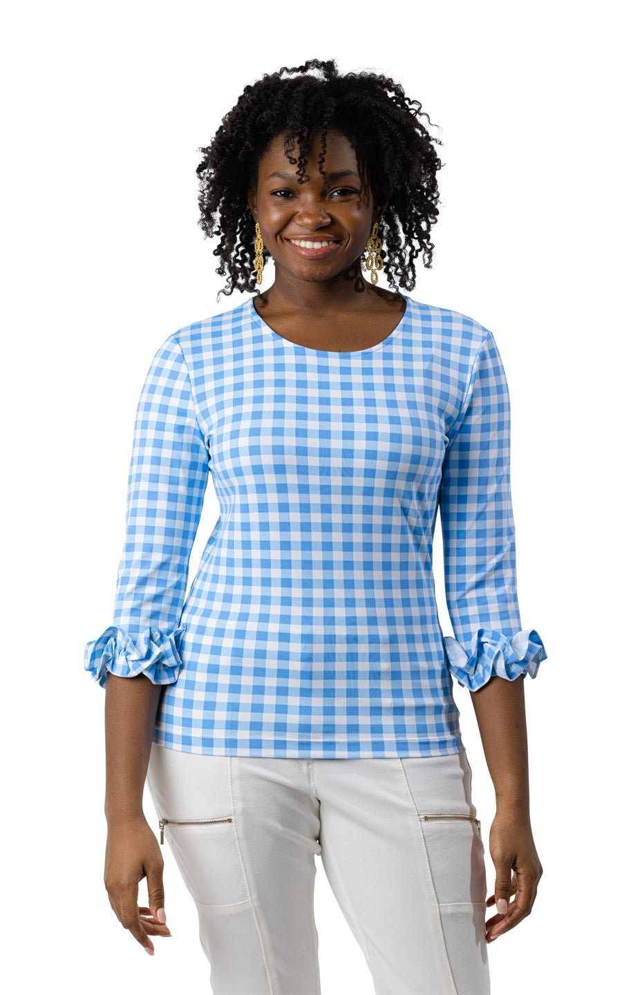 Caroline Top - Blue Picnic Check