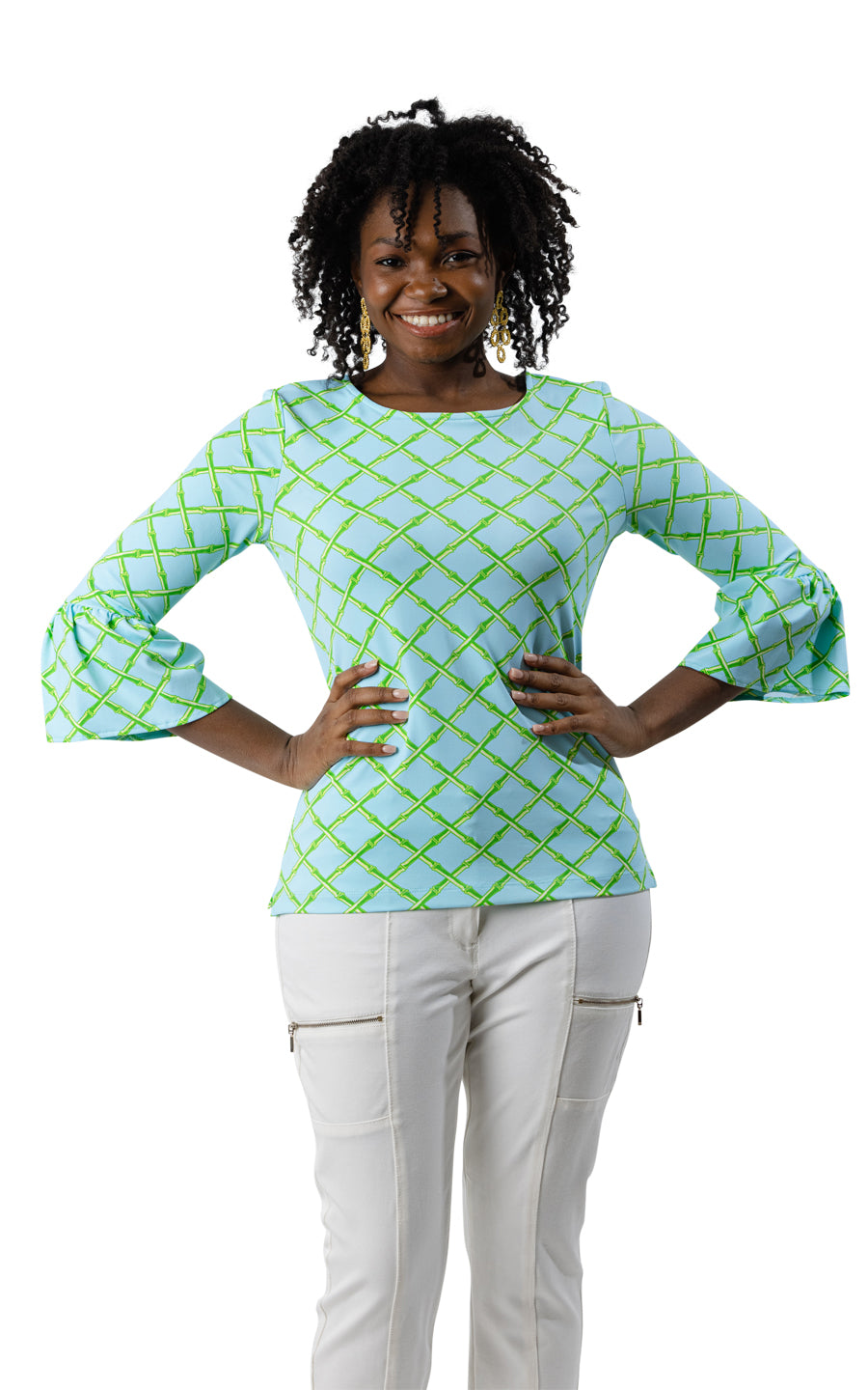 Haley Top - Turq/Green Bamboo Lattice
