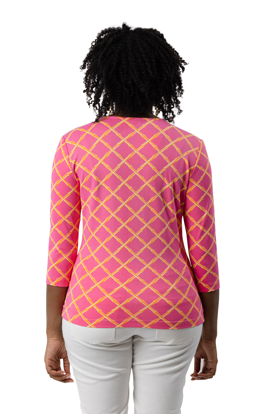 Crew Tee - Pink/Orange Bamboo Lattice