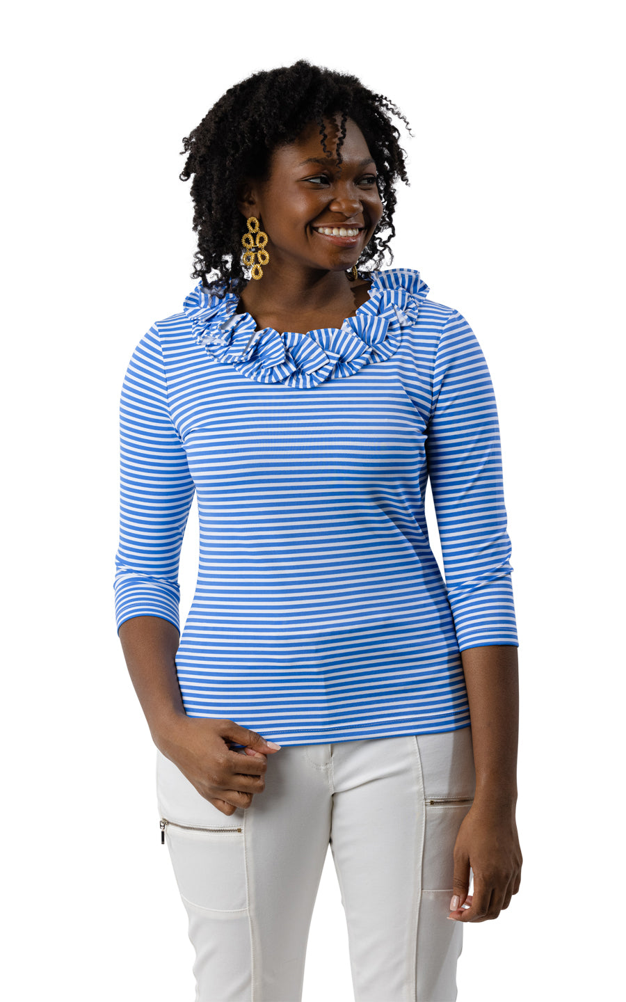 Cricket Top 3/4 - Regatta Blue/White Stripe