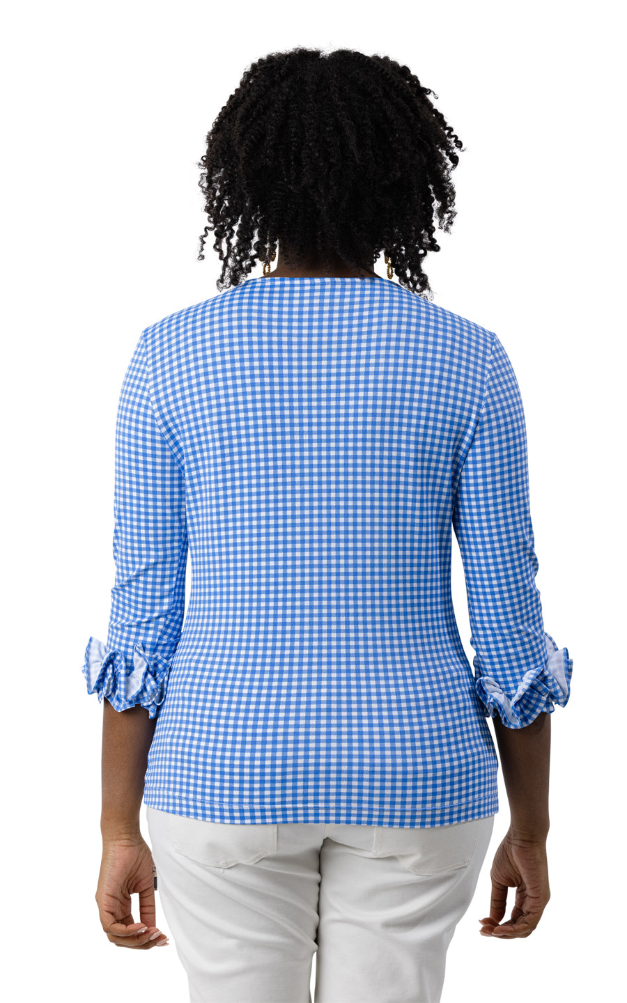 Caroline Top - Regatta Blue Small Check