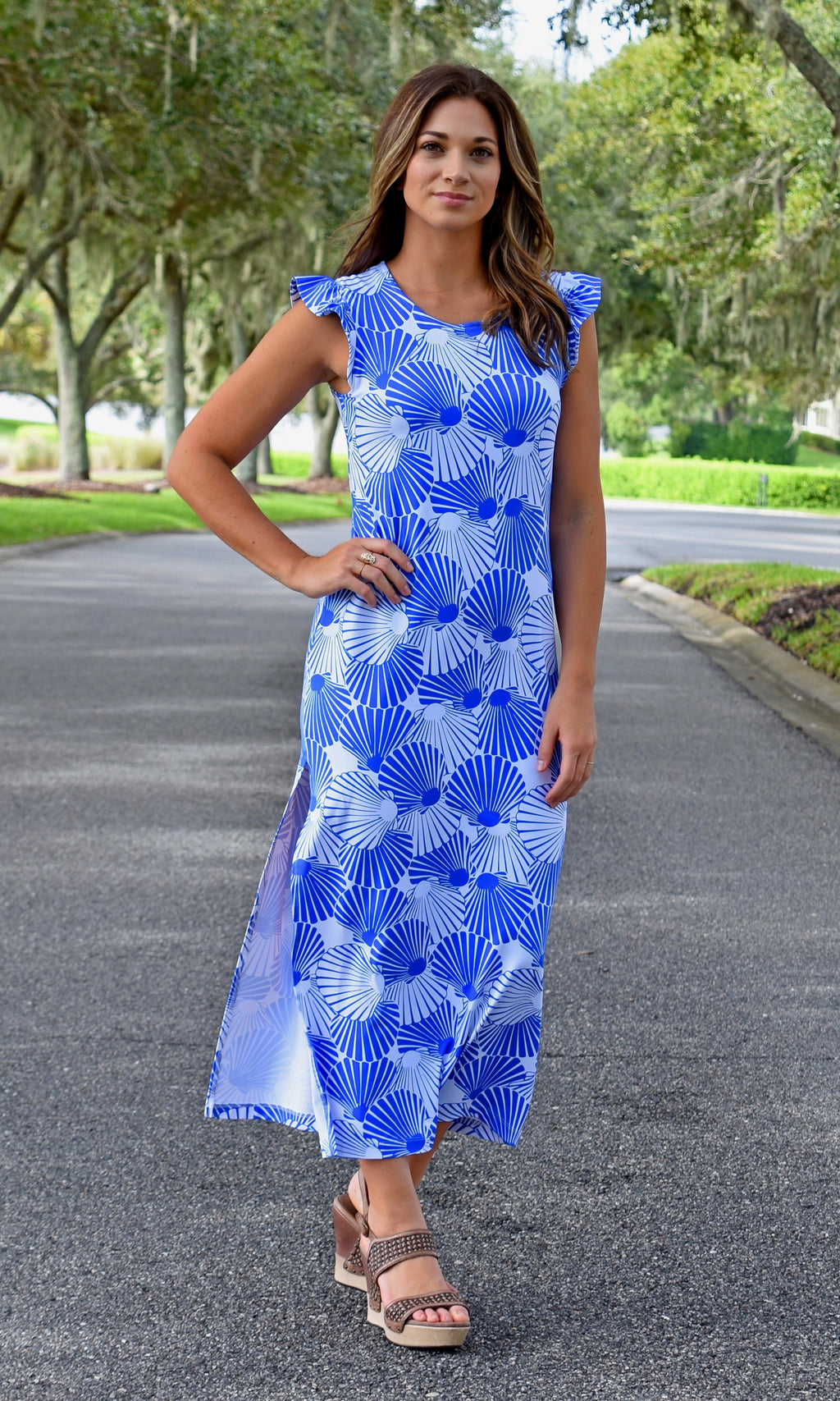 Jojo Maxi Dress - Scattered Scallops- SAMPLE FINAL SALE