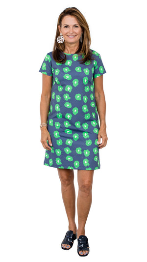 Marina Dress - Navy/Green Cheetah