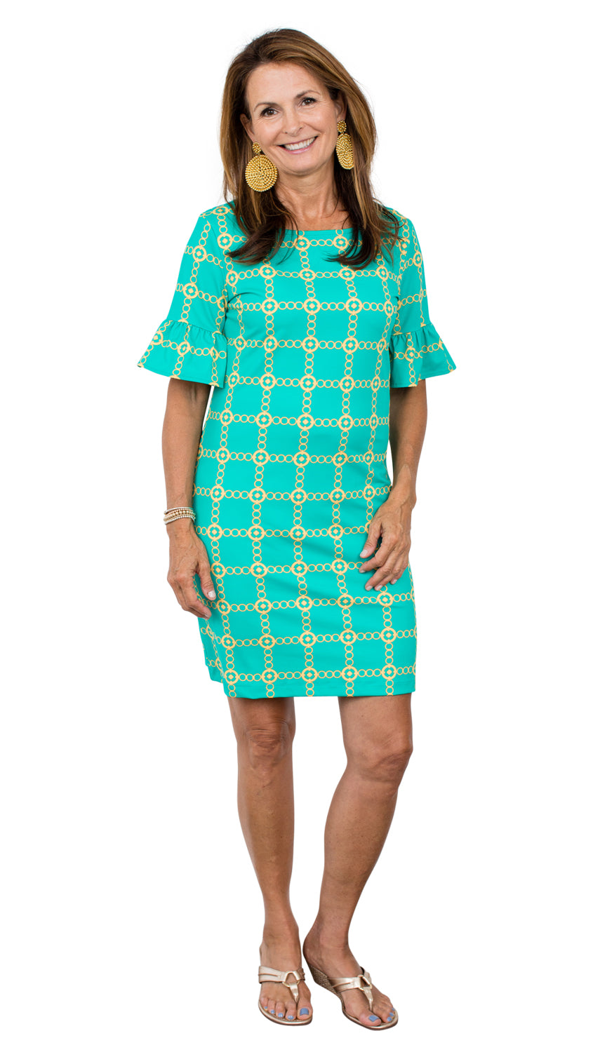 Dockside Dress - Green/Gold Autumn Chain FINAL SALE