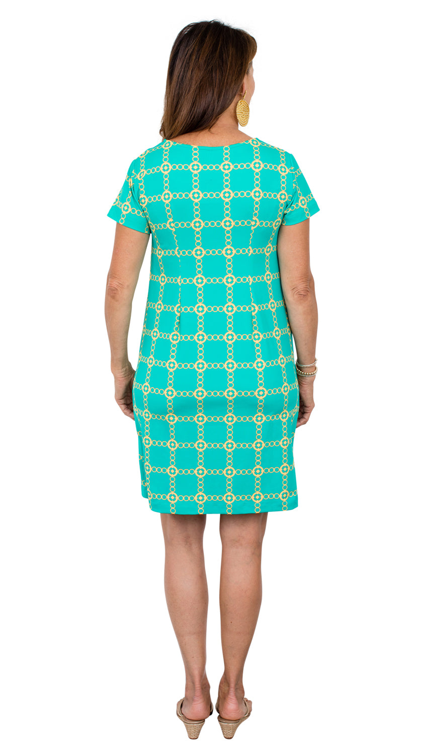 Marina Dress - Green/Gold Autumn Chain FINAL SALE
