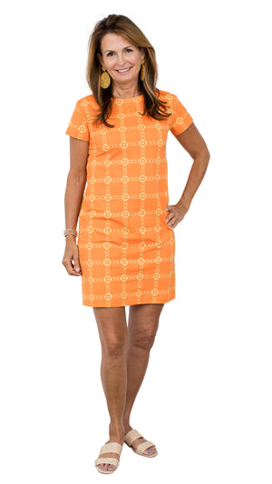 Marina Dress - Orange/Gold Autumn Chain FINAL SALE