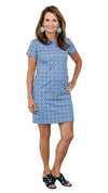 Marina Dress - Navy/Blue Medallion FINAL SALE