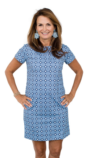 Marina Dress - Navy/Blue Medallion
