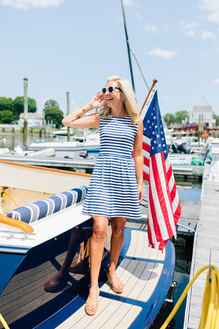 Boardwalk Dress - Wide Navy/White Stripe