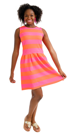 Boardwalk Dress - Pink/Orange Rugby Stripe