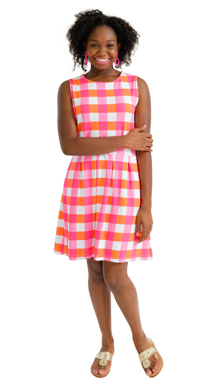 Boardwalk Dress - Pink/Orange Chatham Check