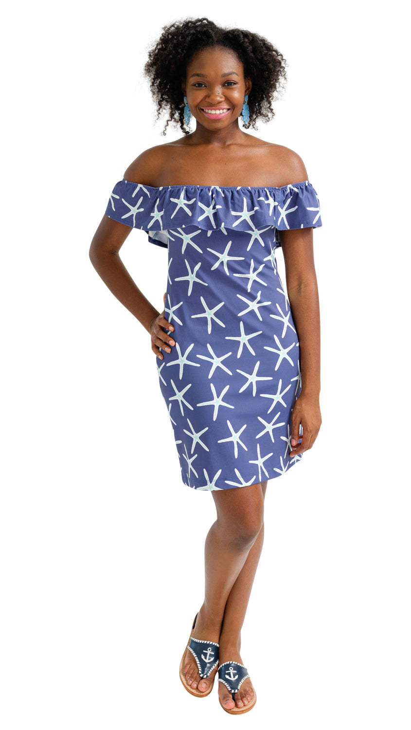 Shoreline Dress - Navy Stick Starfish