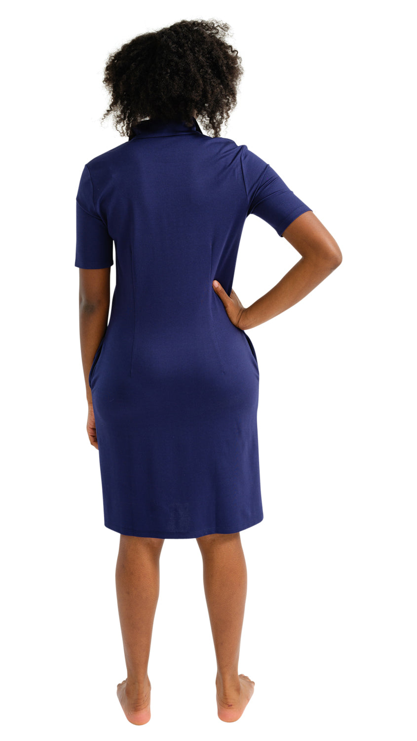 Britt Dress Short Sleeve - Solid Navy w/White Trim