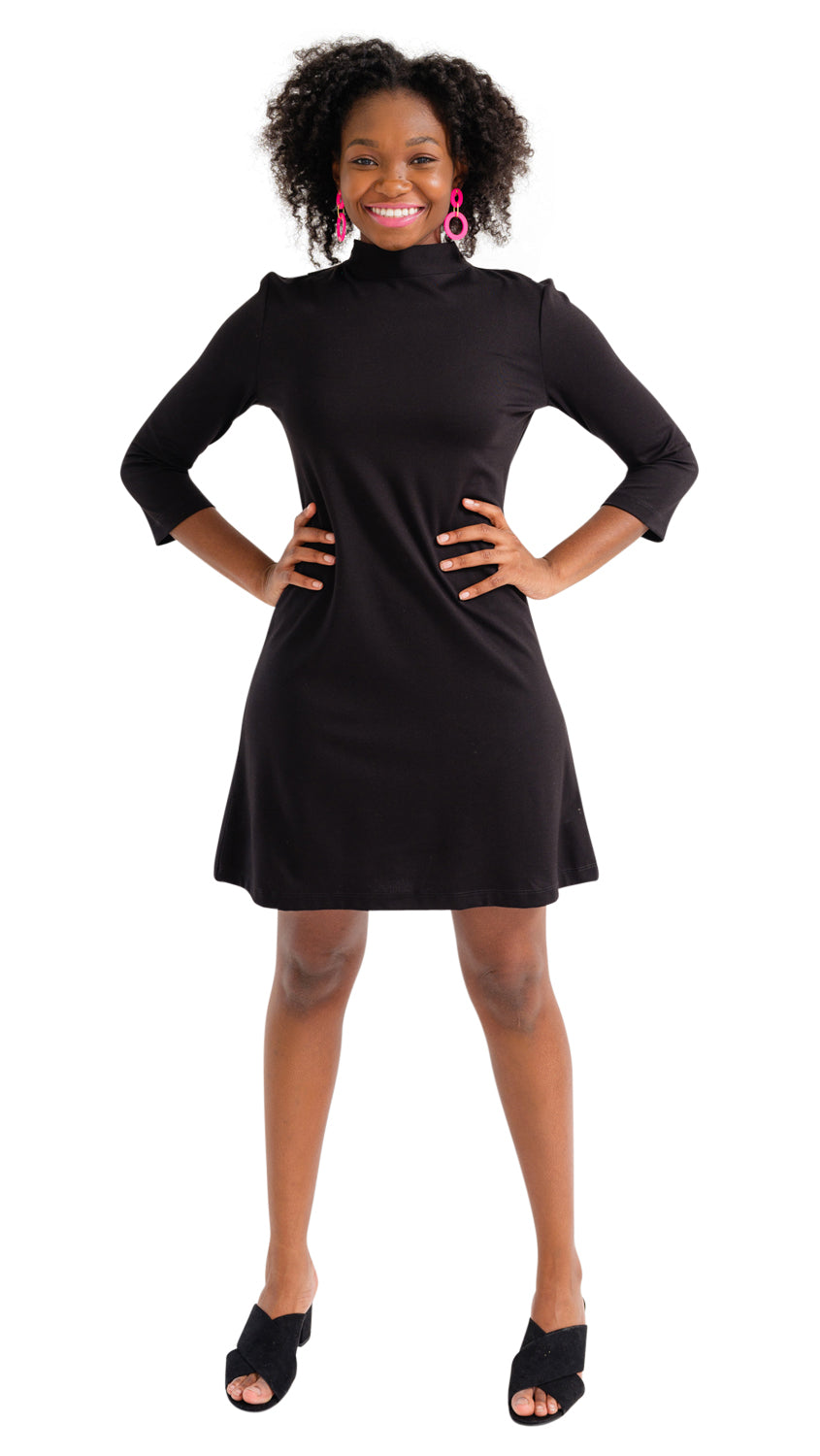 Molly Bow Back 3/4 Sleeve - Solid Black