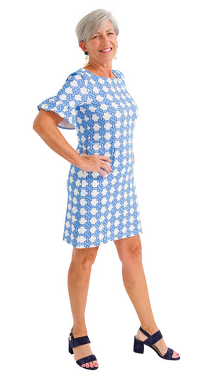 Dockside Dress - Summer Knot Azure/White - SAMPLE FINAL SALE