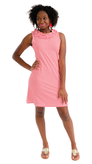 Cricket Sleeveless Dress - Red/White Stripe- FINAL SALE
