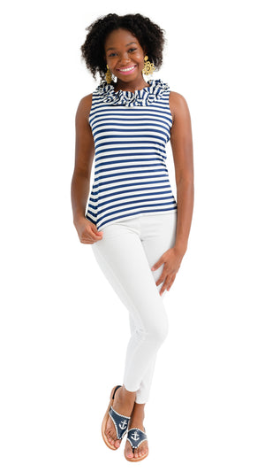 Cricket Top Sleeveless - Navy/White Wide Stripe