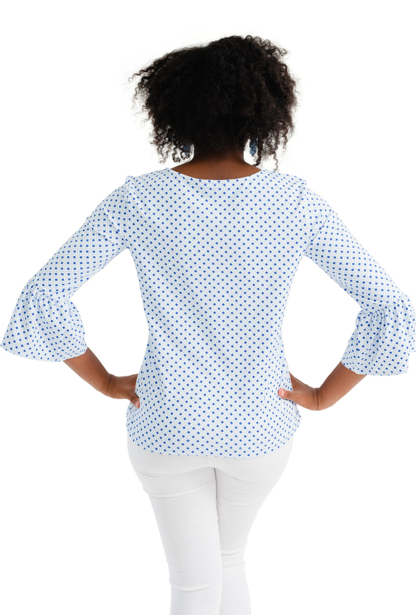 Haley Top - Blue Basket Weave