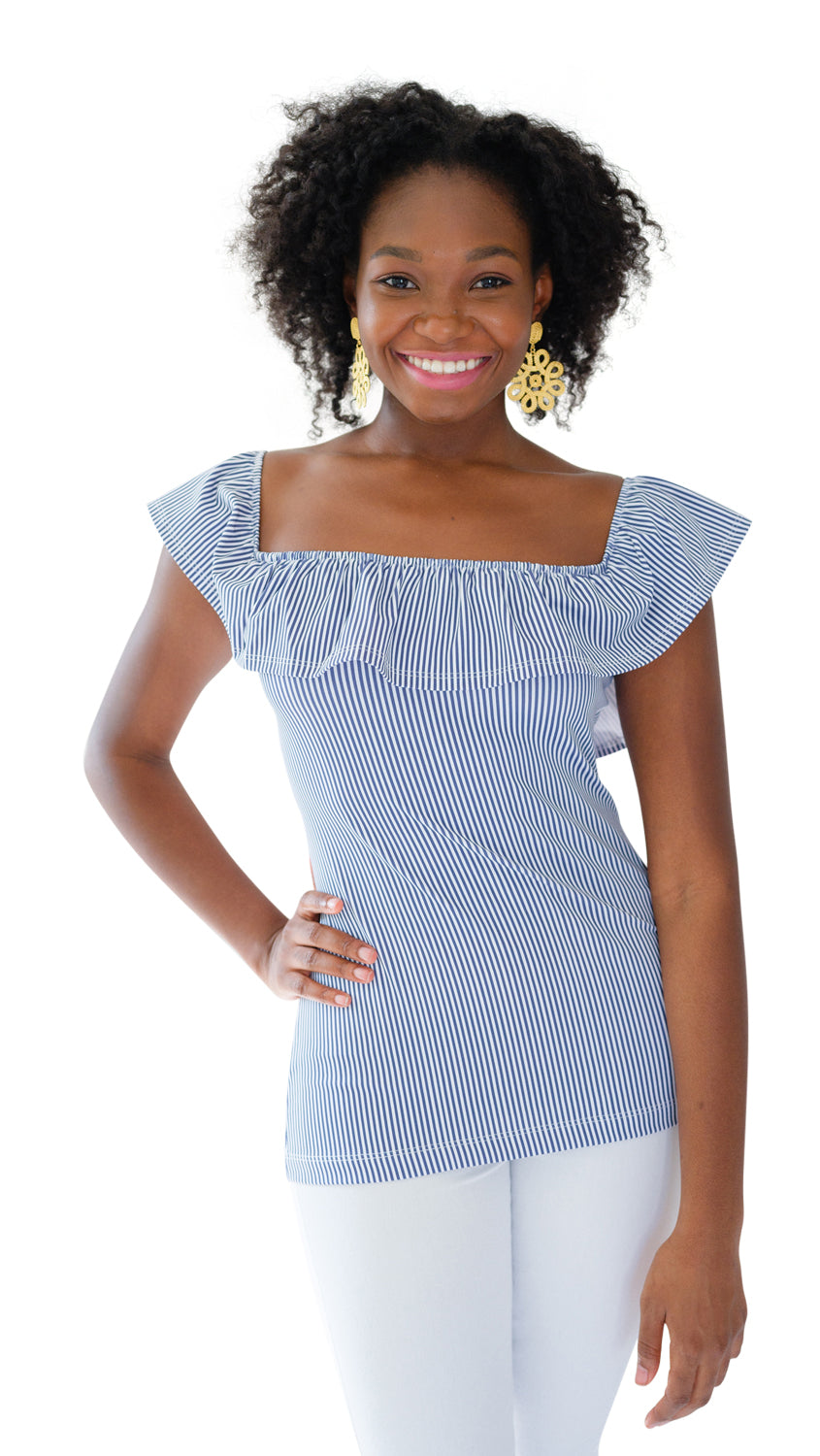 Shoreline Top - Navy Pinstripe