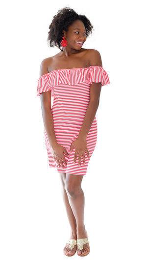 Shoreline Dress - Red/White Stripe