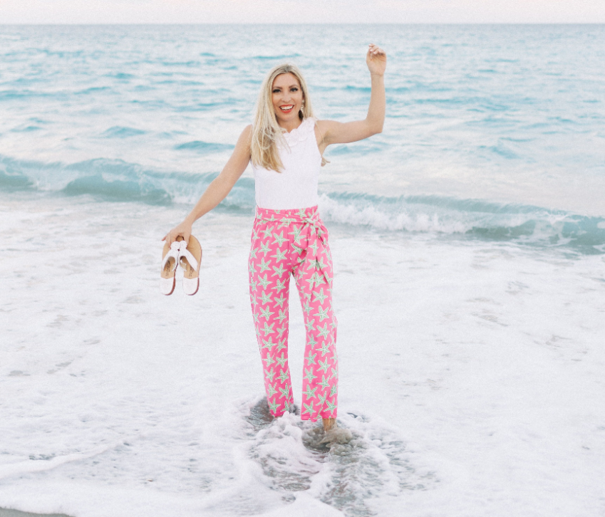 Dorothy Pants - Pink/Green Sea Star