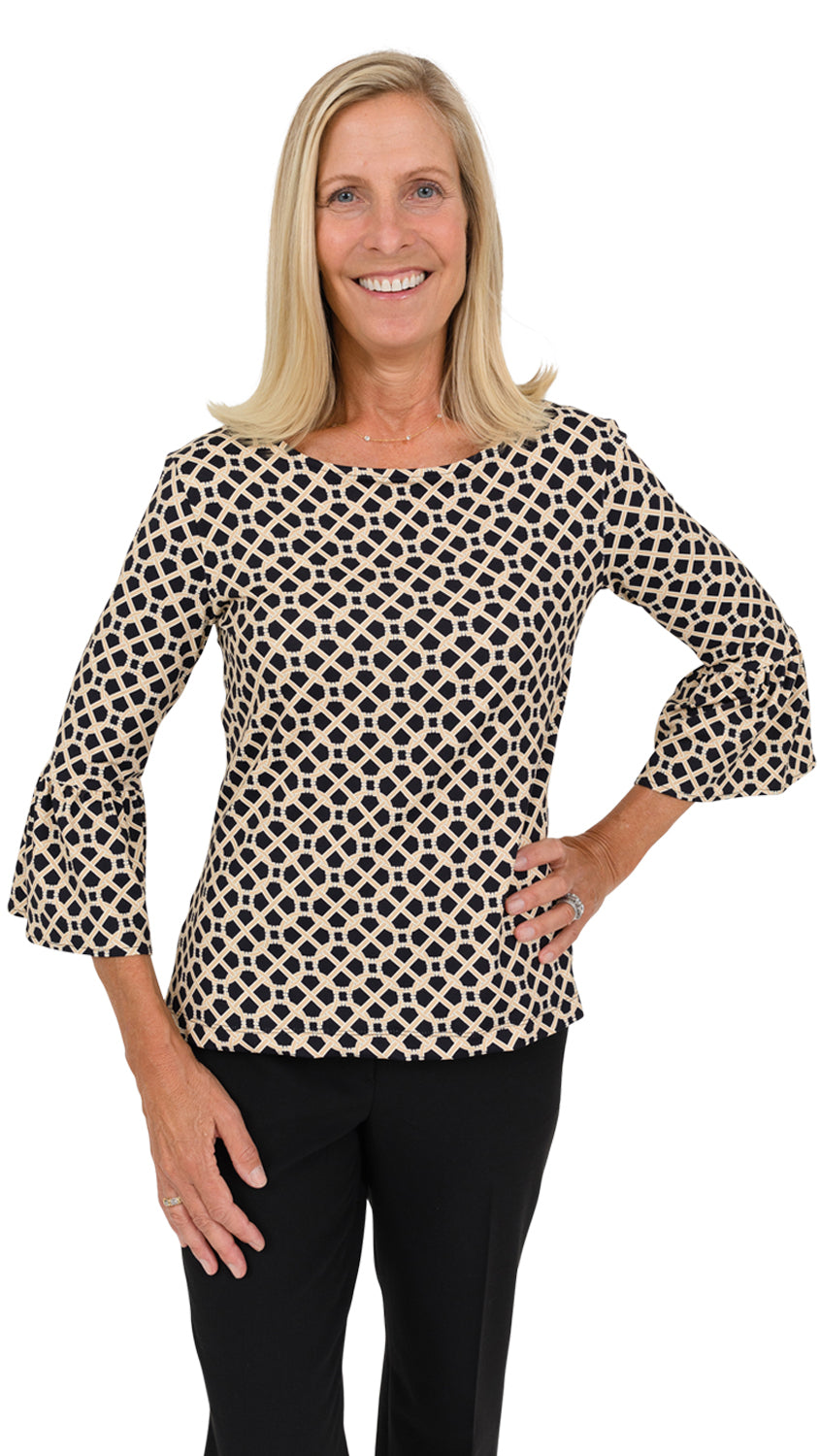 Haley Top - Black/Almond Bamboozled FINAL SALE