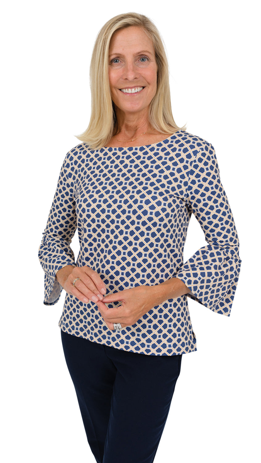 Haley Top - Navy/Almond Bamboozled FINAL SALE