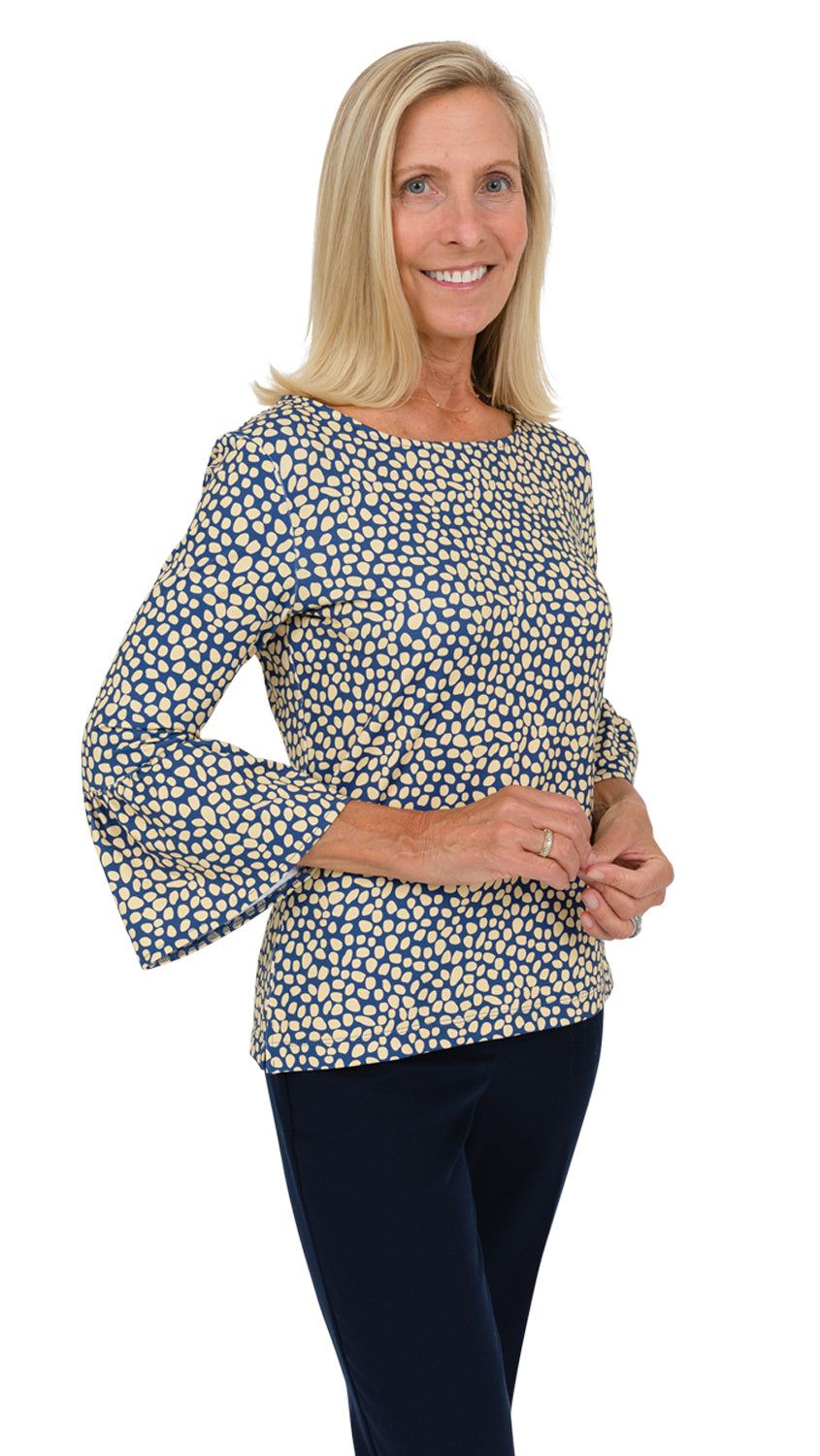 Haley Top - Navy/Biscotti Pebble