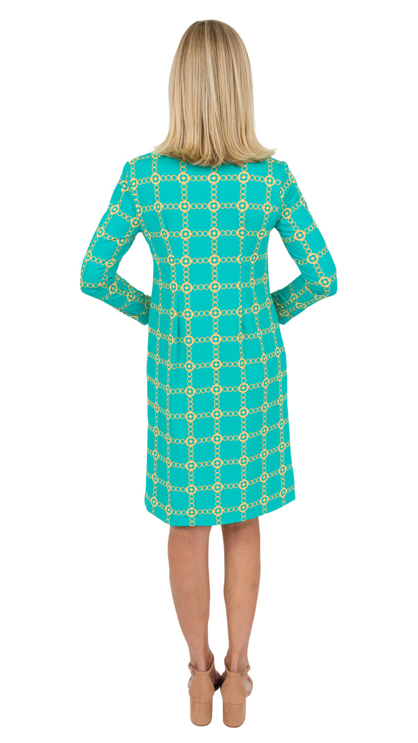 Marina Dress 3/4 Sleeve XLength - Green/Gold Chain FINAL SALE