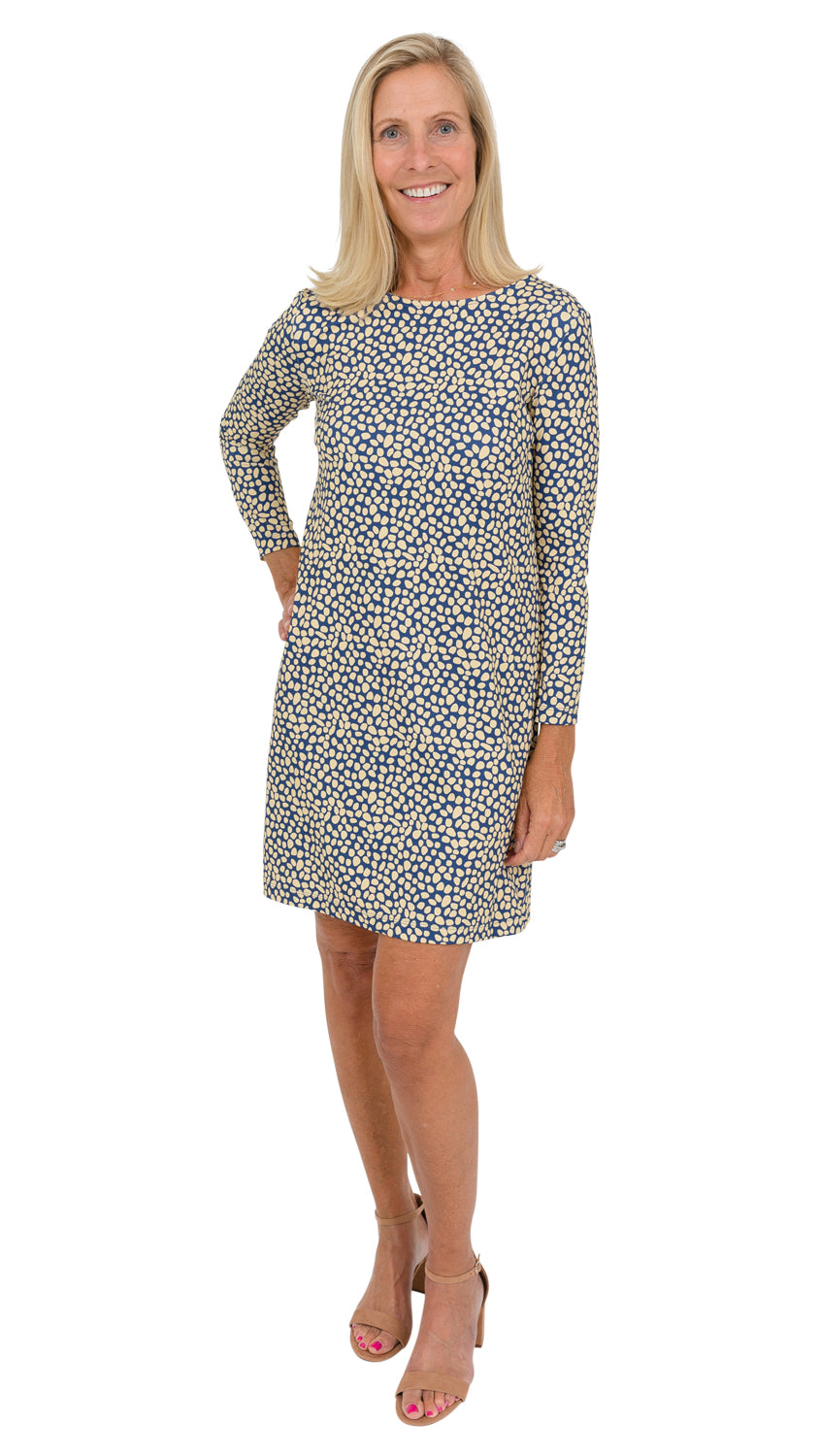 Marina Dress 3/4 Sleeve - Navy/Biscotti Pebble FINAL SALE