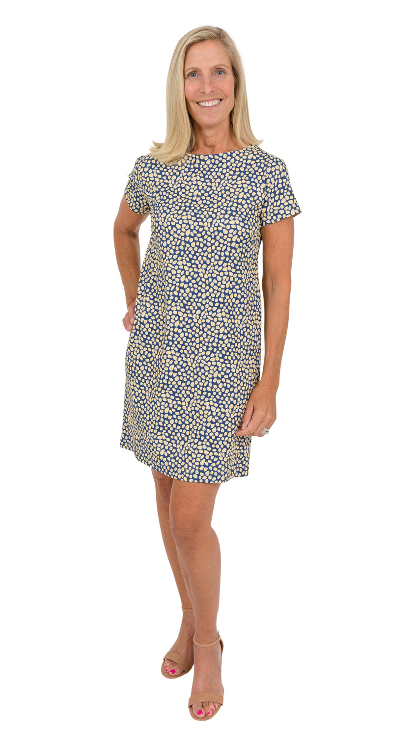 Marina Dress - Navy/Biscotti Pebble FINAL SALE