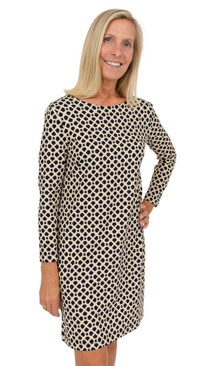 Marina Dress 3/4 Sleeve - Black/Almond Bamboozled