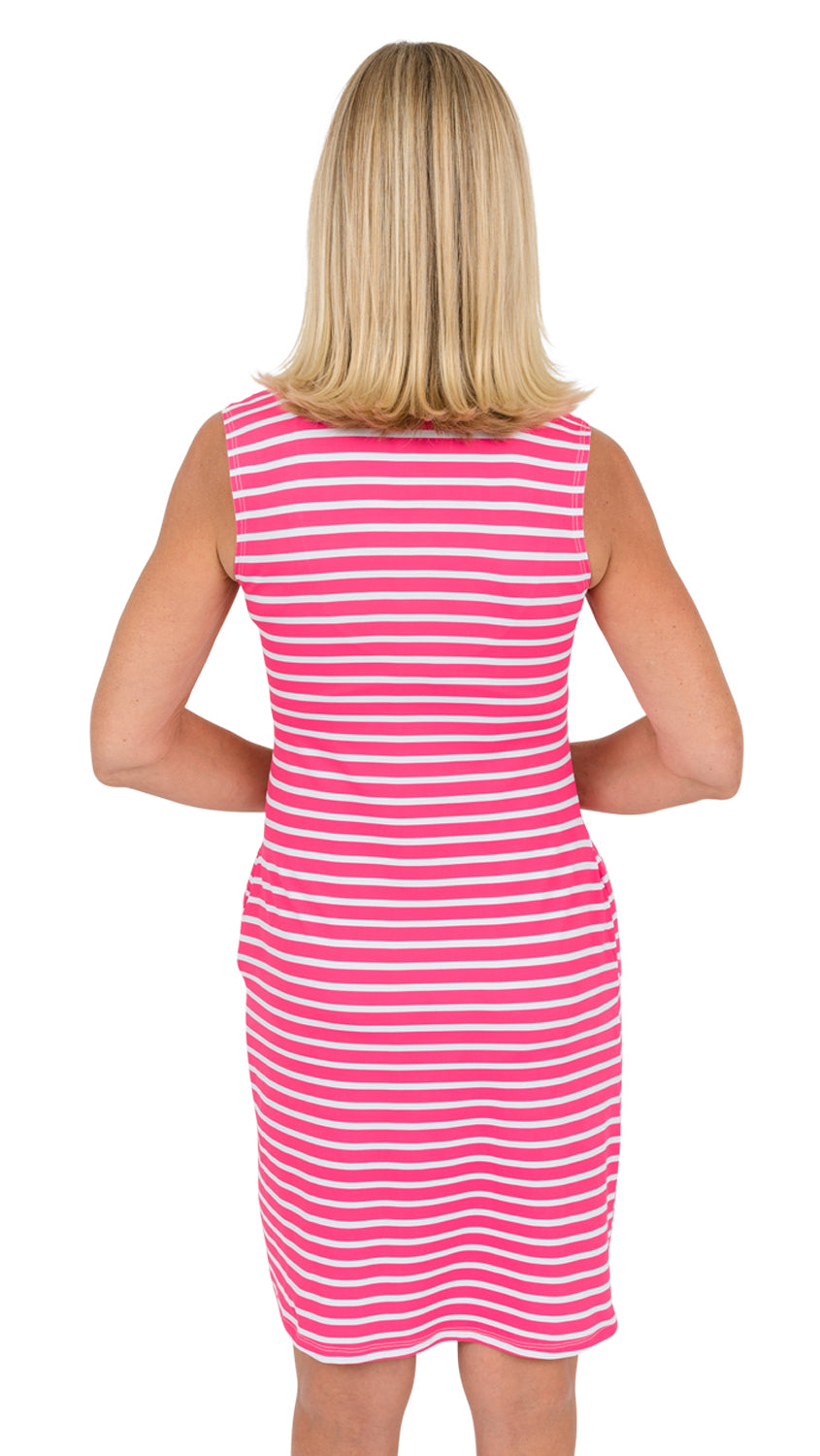 Port Dress Sleeveless - Summer Stripe Pink/White- SAMPLE FINAL SALE