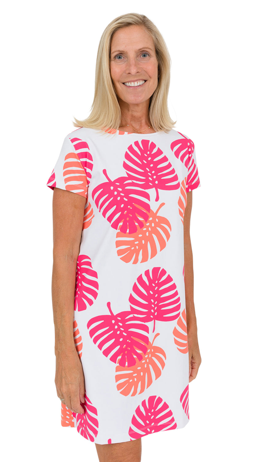 Marina Dress - Hot Pink/Salmon Dancing Palms- SAMPLE FINAL SALE