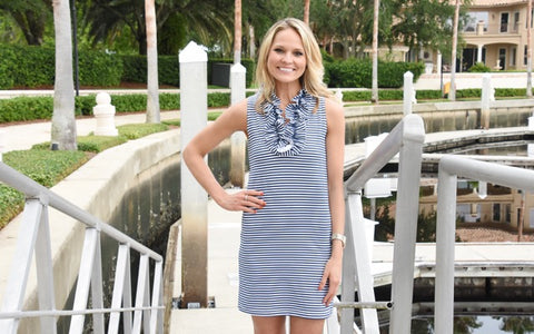 Skipper Dress  Navy/White Stripes