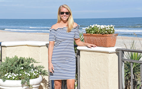Kate Dress- Navy and White Stripe