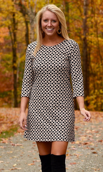 Grace Dress - Black/Almond Pebble