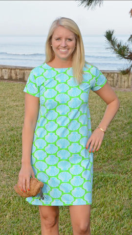 Marina Dress - Scallop Shell Lime/Blue Final Sale