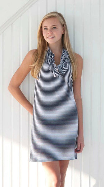 Skipper Dress - White/Navy Stripe