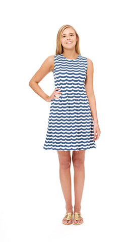 Boardwalk Dress - White/Navy Wave