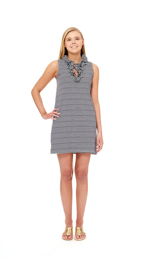 Skipper Dress - White/Navy Stripe Cotton