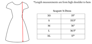 Seaport Shift 3/4 Sleeve - Scribble Anchors- FINAL SALE