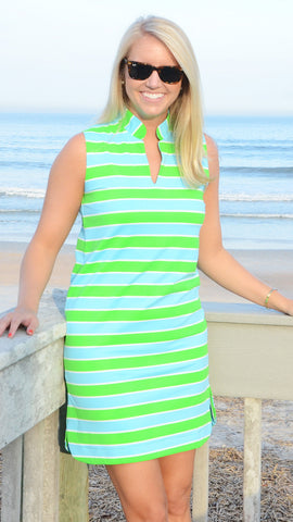 Seaport Shift - Cabana Stripe Rope Lime/Blue- Final Sale