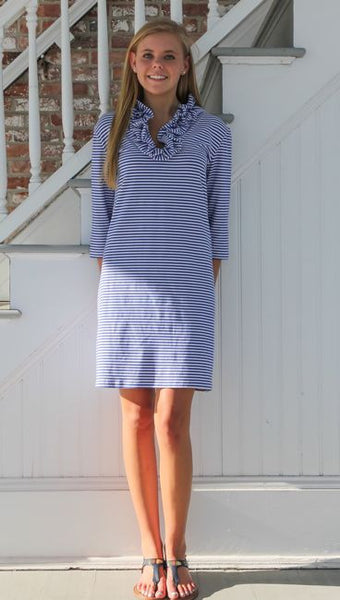 Skipper 3/4 Sleeve Dress Cotton Royal/White Stripe