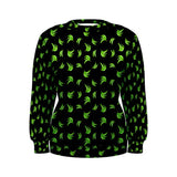 Black & Green Platano Print Womens Sweatshirt